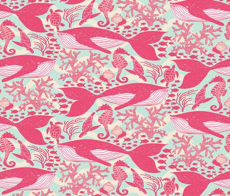Whales - Under the Surface fabric by shellypenko on Spoonflower - custom fabric
