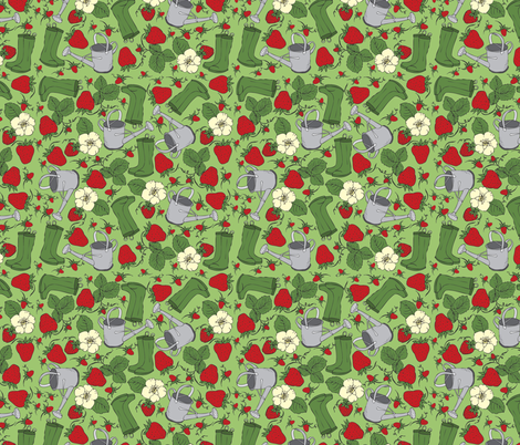 Strawberry Fields fabric by oliveandruby on Spoonflower - custom fabric