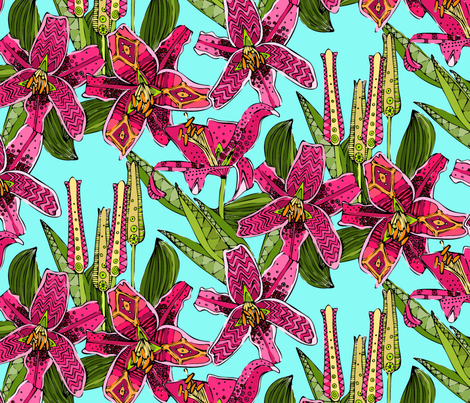 stargazer lilies fabric by scrummy on Spoonflower - custom fabric