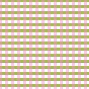 Green and soft pink Gingham.