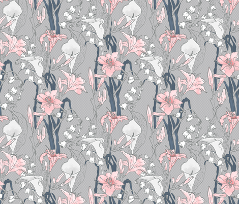 Lily Love (in Paris Grey) fabric by nouveau_bohemian on Spoonflower - custom fabric