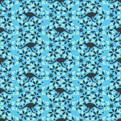 Flowers & Roos (Blue) fabric by robyriker on Spoonflower - custom fabric