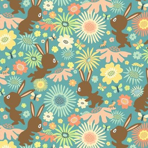 Meadow Bunnies: Chocolate Teal