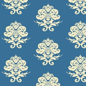 Blue and Cream Damask