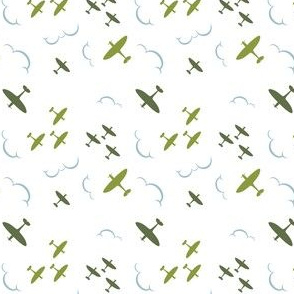 1940s inspired Spitfire aircrafts green