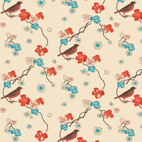 robin in the maple tree fabric by keweenawchris on Spoonflower - custom fabric
