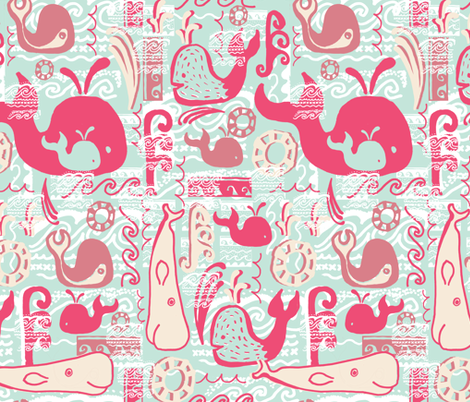 Having a Whale of a Time! fabric by slumbermonkey on Spoonflower - custom fabric
