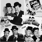 LAUREL AND HARDY COLLAGE B&W