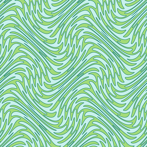 Art Nouveau feather swirl - serene greens fabric by weavingmajor on Spoonflower - custom fabric