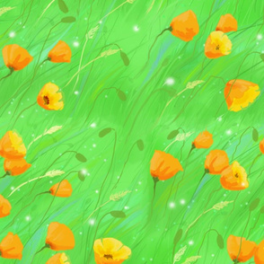 Breezy poppies grass green
