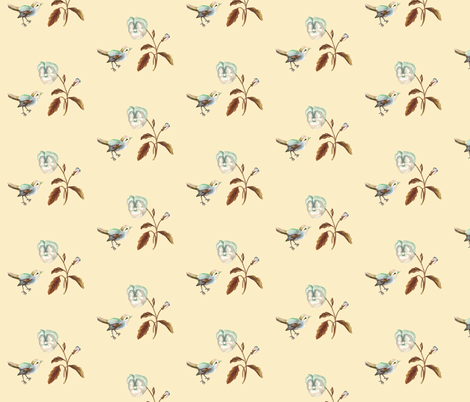 Bird and Pansy on Cream fabric by thistleandfox on Spoonflower - custom fabric