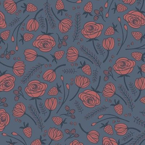 dusty blue floral
