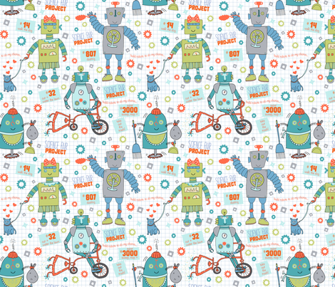 the 'robot project' fabric by pattyryboltdesigns on Spoonflower - custom fabric