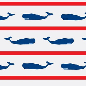 Naurical Stripe Whales Large