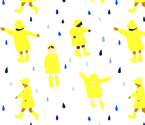 Playing in the rain fabric by janetdrummond on Spoonflower - custom fabric