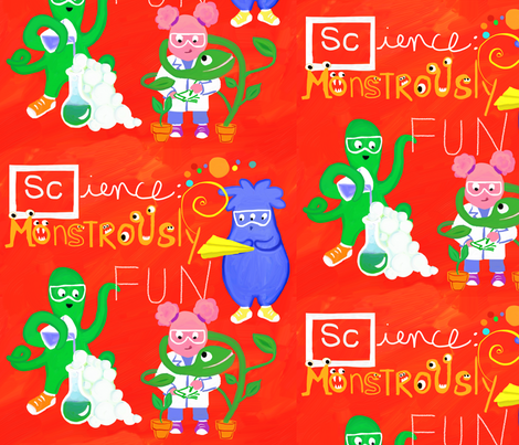 Science: Monstrously Fun! fabric by valdraws on Spoonflower - custom fabric