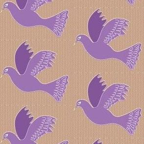 Purple bird on Basketweave