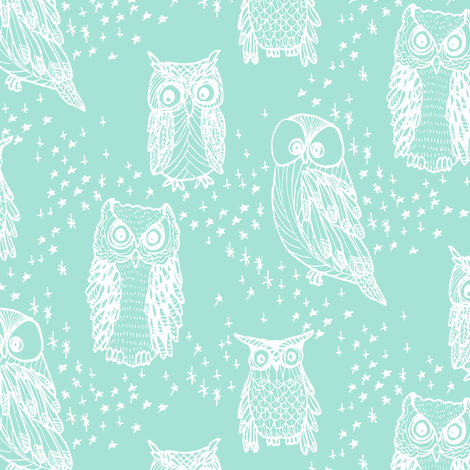 Little Owl in Aqua fabric by emilysanford on Spoonflower - custom fabric