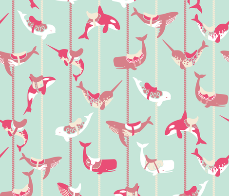 A Whale Orca-strated Carousel  fabric by logan_spector on Spoonflower - custom fabric