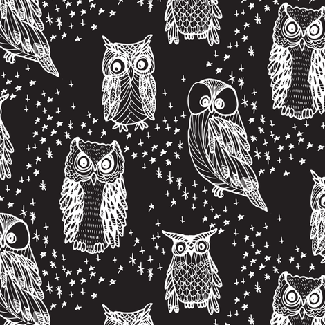 Little Owl in Black fabric by emilysanford on Spoonflower - custom fabric