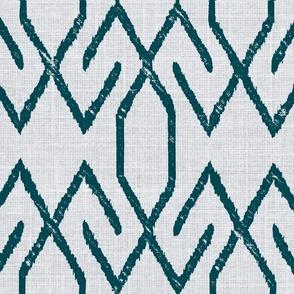 Linen Teal Aztec Ikat