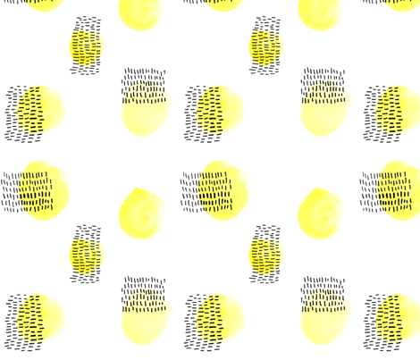 Black ink and yellow dots fabric by feliciadavidsson on Spoonflower - custom fabric