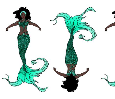 Teal Mermaid Doll fabric by pond_ripple on Spoonflower - custom fabric