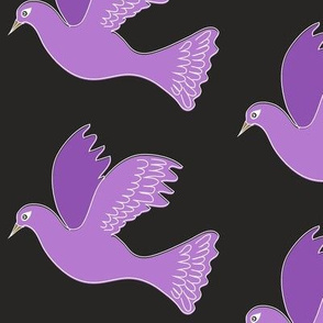 Purple bird on black