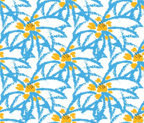 Blue Edged Snow Lilies fabric by anniedeb on Spoonflower - custom fabric