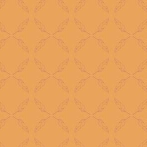 penciled feather orange fushia