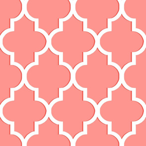 Dimensional Quatrefoil in Coral and White