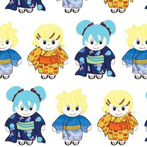 Vocaloid Singers in Kimonos
