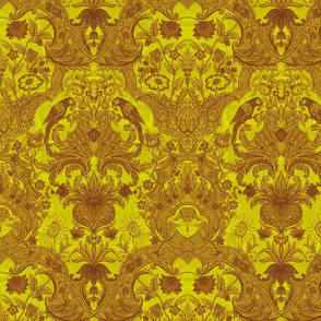 Parrot Damask ~ Two Tone ~ Dictator and Sepia ~ Moire