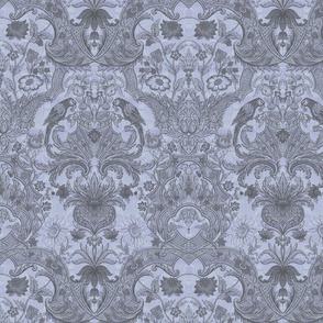 Parrot Damask ~ Two Tone ~ Versailles Fog and Pewter ~ Moire