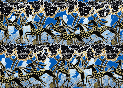 Art Deco gazelles galloping through, deep blue by Su_G