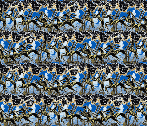 Art Deco gazelles galloping through, deep blue by Su_G fabric by su_g on Spoonflower - custom fabric