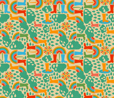 Wellies & Brellies fabric by christinewitte on Spoonflower - custom fabric