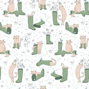 Cats and Wellies Pastel