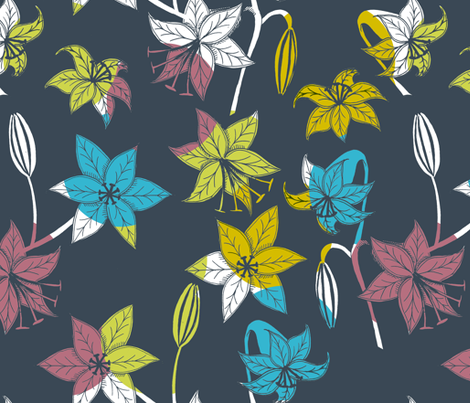 Lilies on grey fabric by sary on Spoonflower - custom fabric