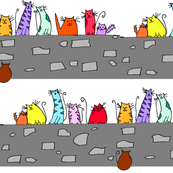 Caterwauling Cats on A Wall
