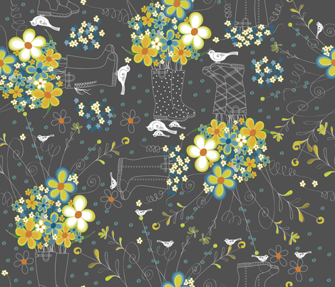 Wallie Blossoms fabric by liluna on Spoonflower - custom fabric