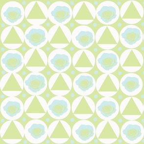 Pale blue roses and spring green triangles in large white dots