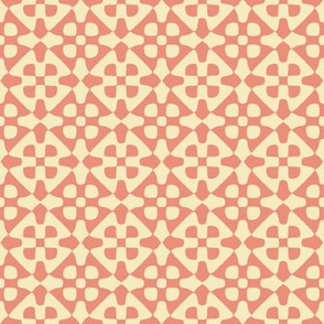 diamond checker in peach and cream