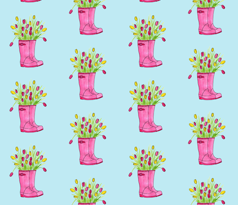Spring Wellies  fabric by aubgerineandpurple on Spoonflower - custom fabric