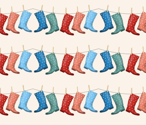 Rainy vintage boots fabric by josephinegraucob on Spoonflower - custom fabric