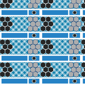 Black and Blue Geometric Circular Wallpaper