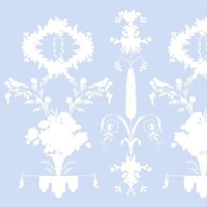 Rococo Garden Silhouette in blueberry blue