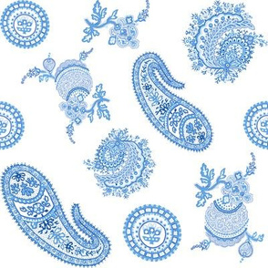 Paisley in delft blue