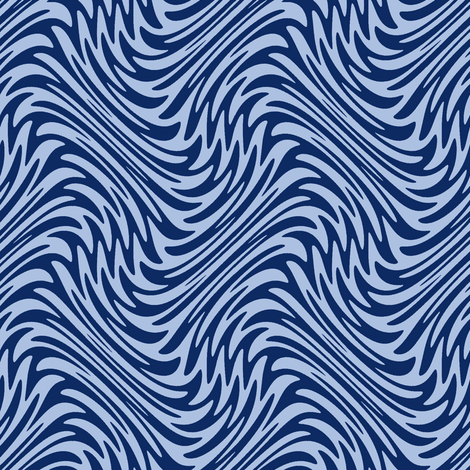 Art Nouveau feather swirl - blue fabric by weavingmajor on Spoonflower - custom fabric