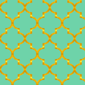 Gold and Mint Quatrefoil
